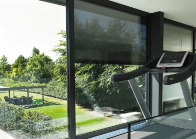 A view of dark external blinds from inside a room with a treadmill, facing a window looking over a lush green patio with trees.
