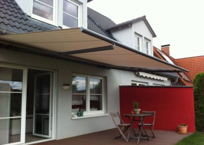 High quality folding-arm-awnings-at house facade